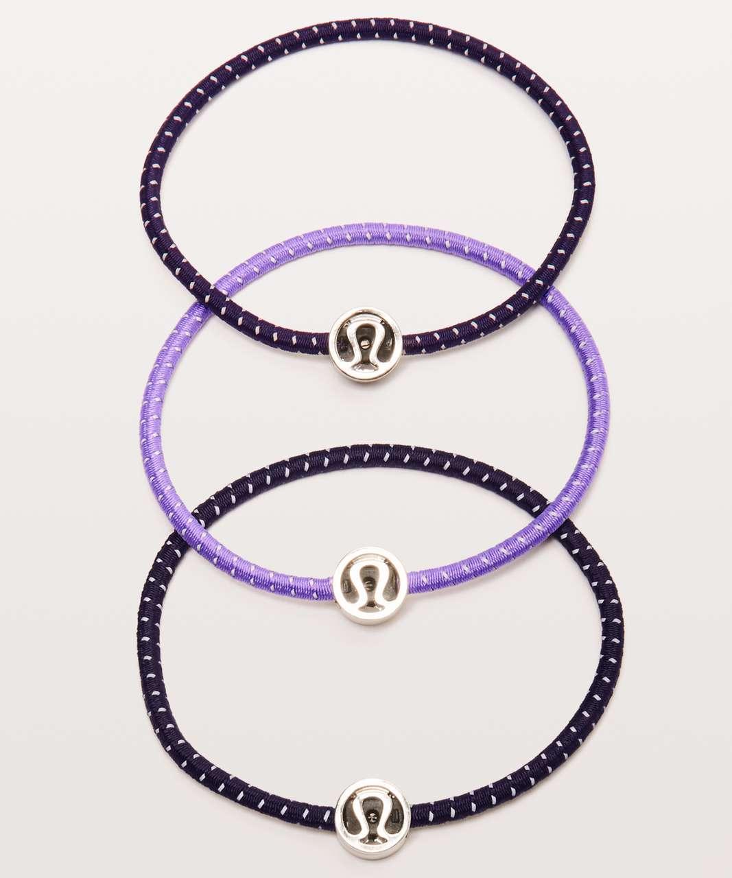 Lululemon Glow On Hair Ties - Cyber / Enchanted Iris / Dark Court Purple