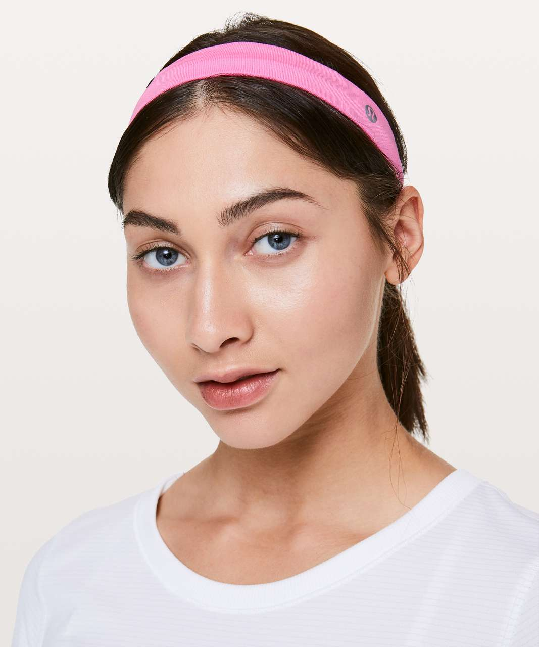 Lululemon Cardio Cross Trainer Headband - Zing Pink Light / White
