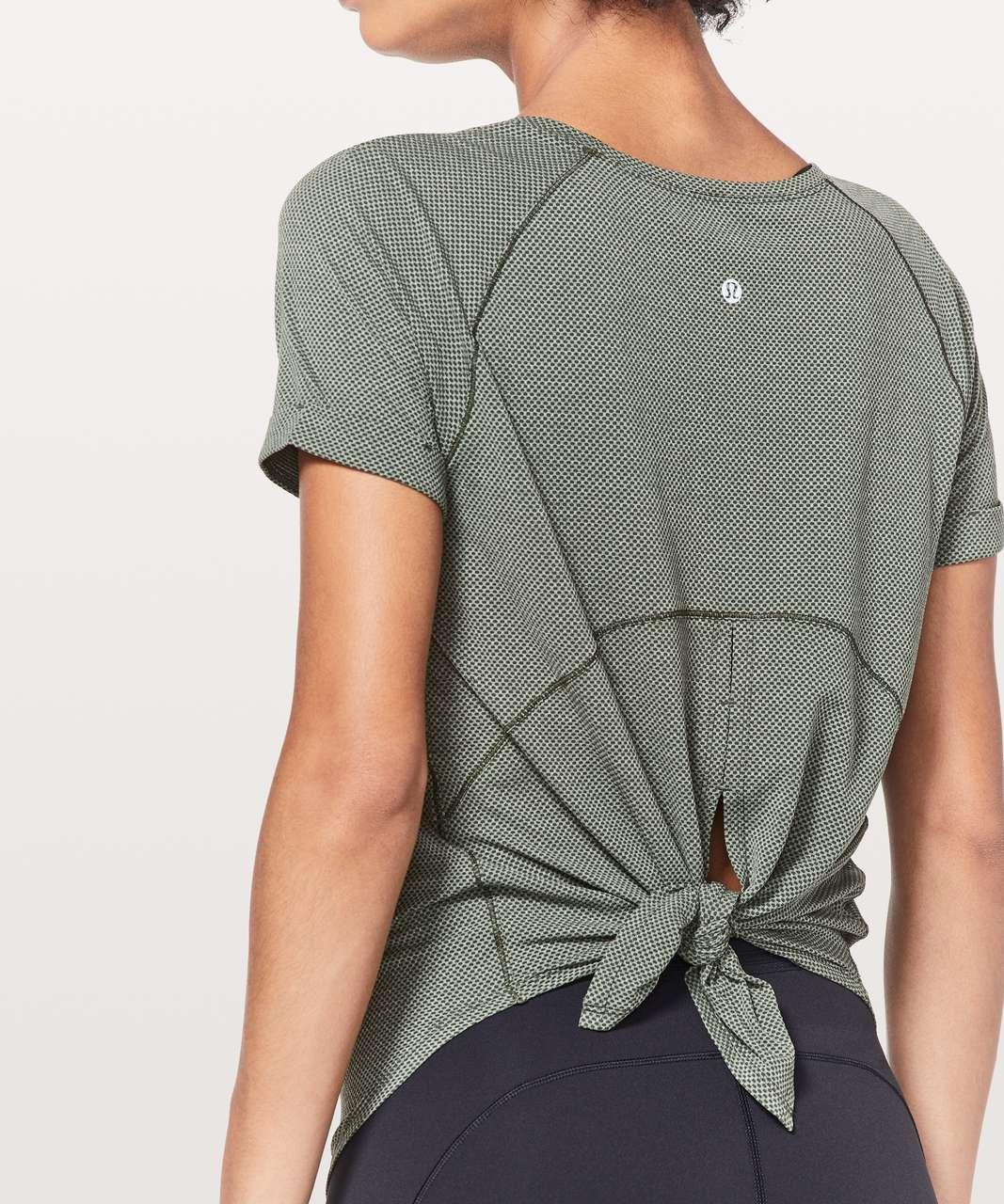 Lululemon Open Up Tie Back Tee - Heathered Camo Green / Camo Green