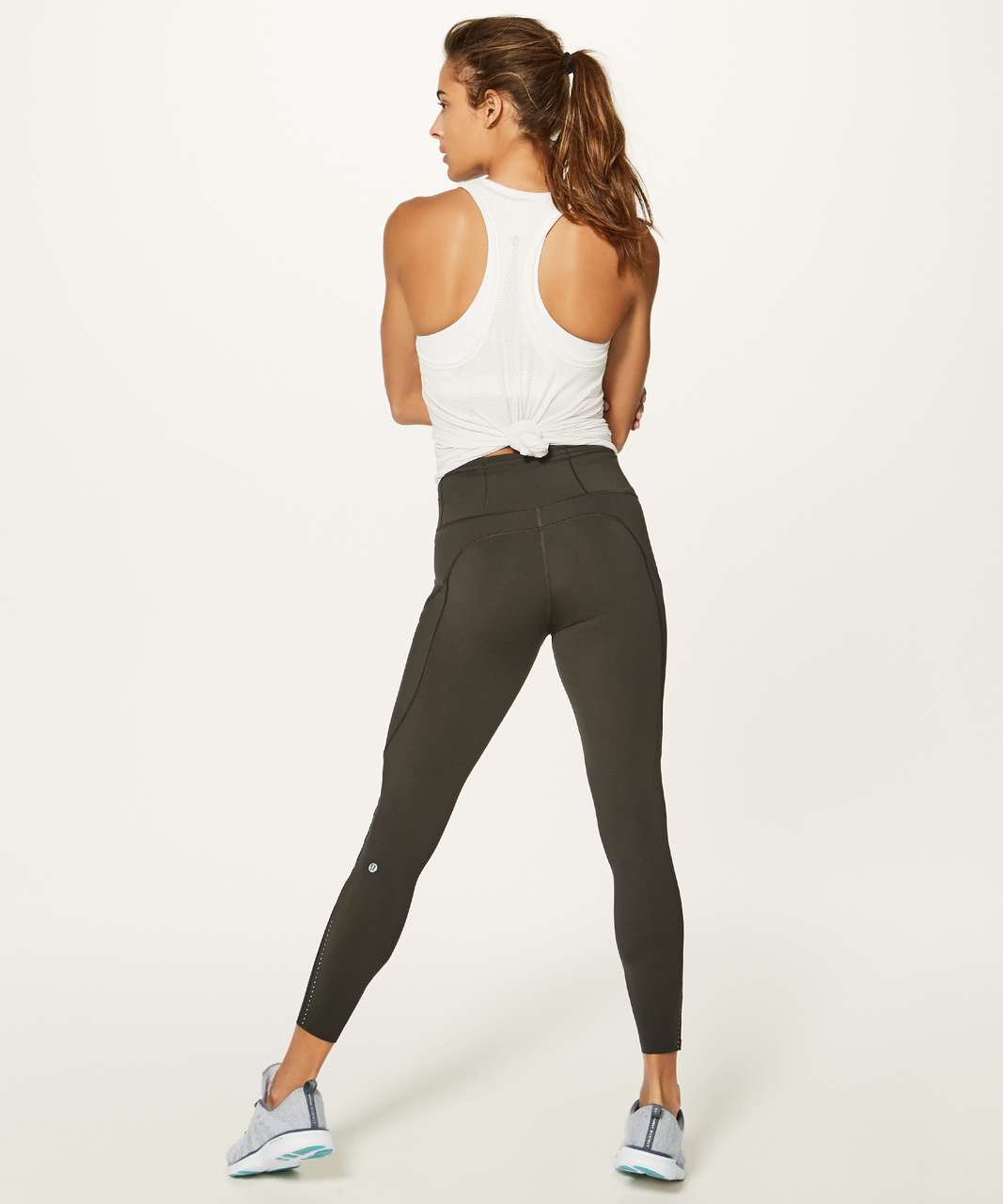 "Lululemon Fast & Free 7/8 Tight II *Nulux 25"" - Dark Olive"