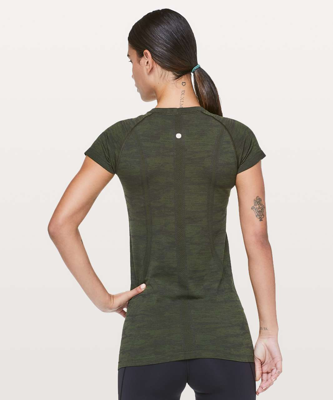 Lululemon Swiftly Tech Short Sleeve Crew - Dark Olive / Brave Olive / Black