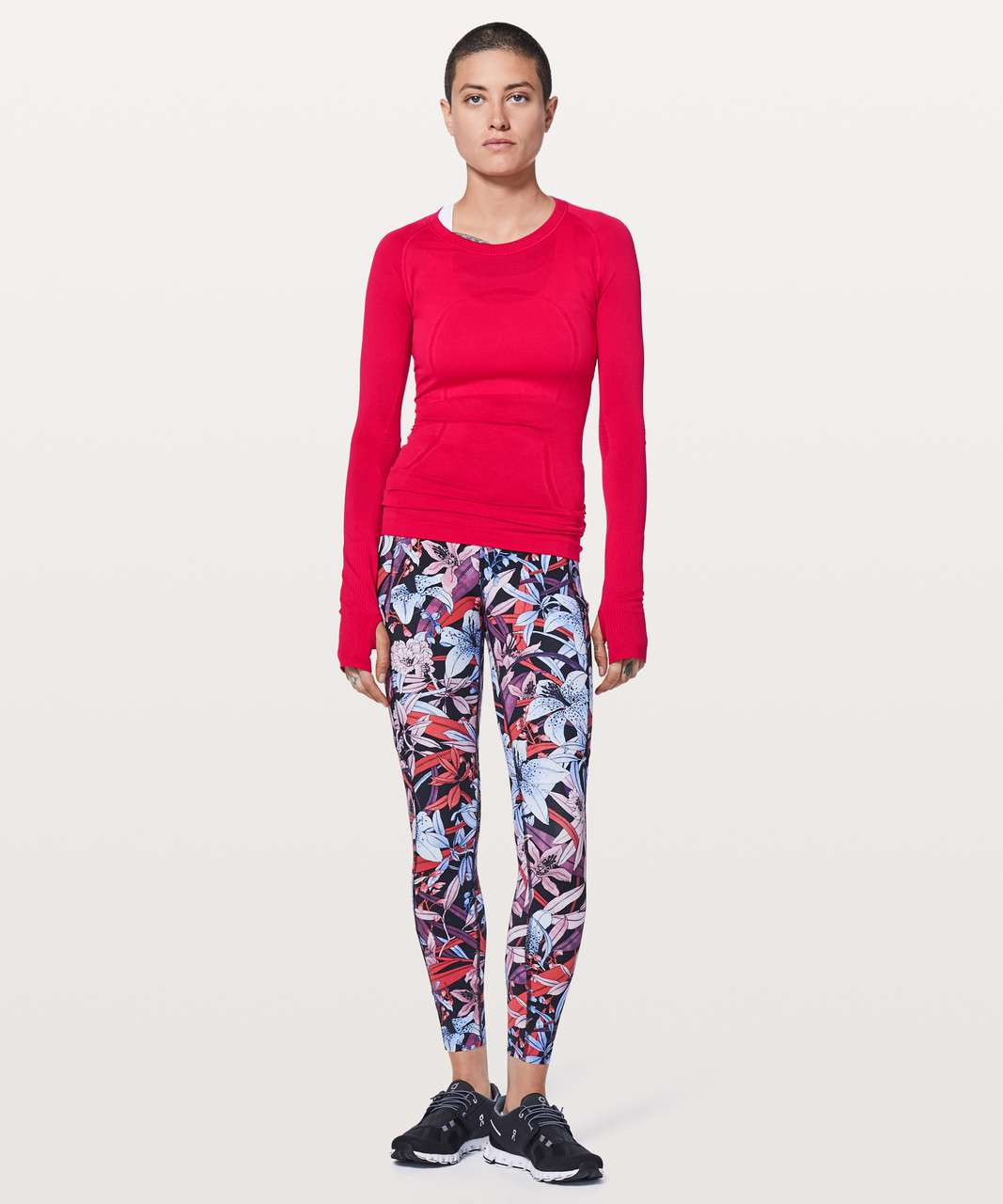 Lululemon Swiftly Tech Long Sleeve Crew - Flamenco Red / Flamenco Red