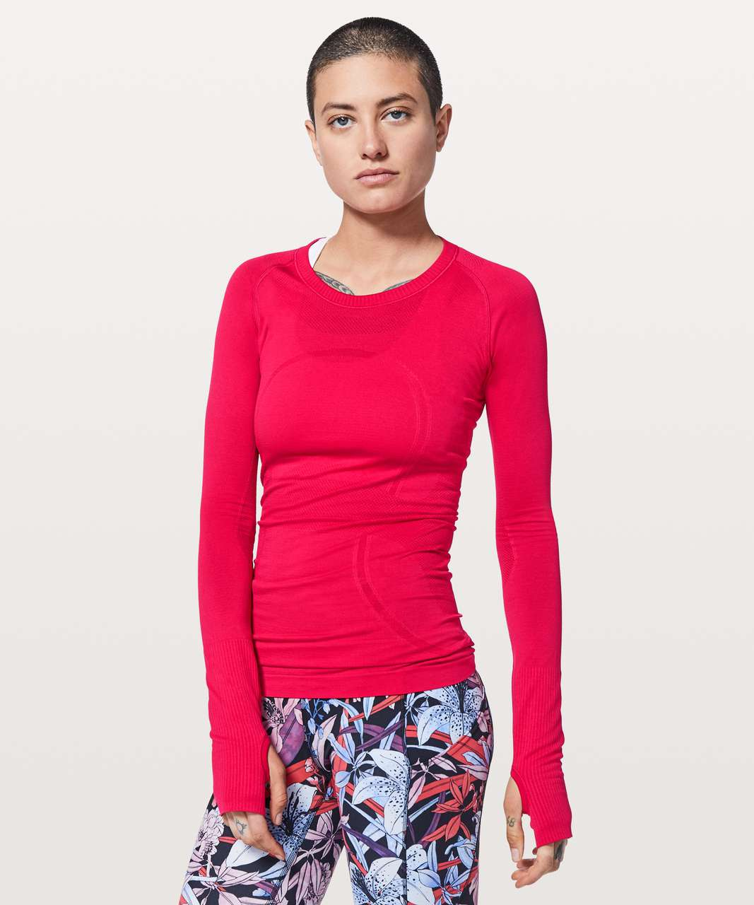 59ceeb5605bc Lululemon Swiftly Tech Long Sleeve Crew - Flamenco Red / Flamenco Red -  lulu fanatics