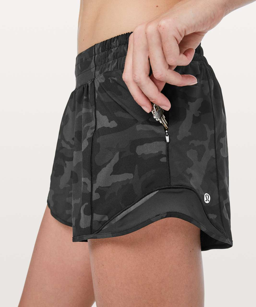 "Lululemon Hotty Hot Short II *Long 4"" - Incognito Camo Multi Grey / Black"