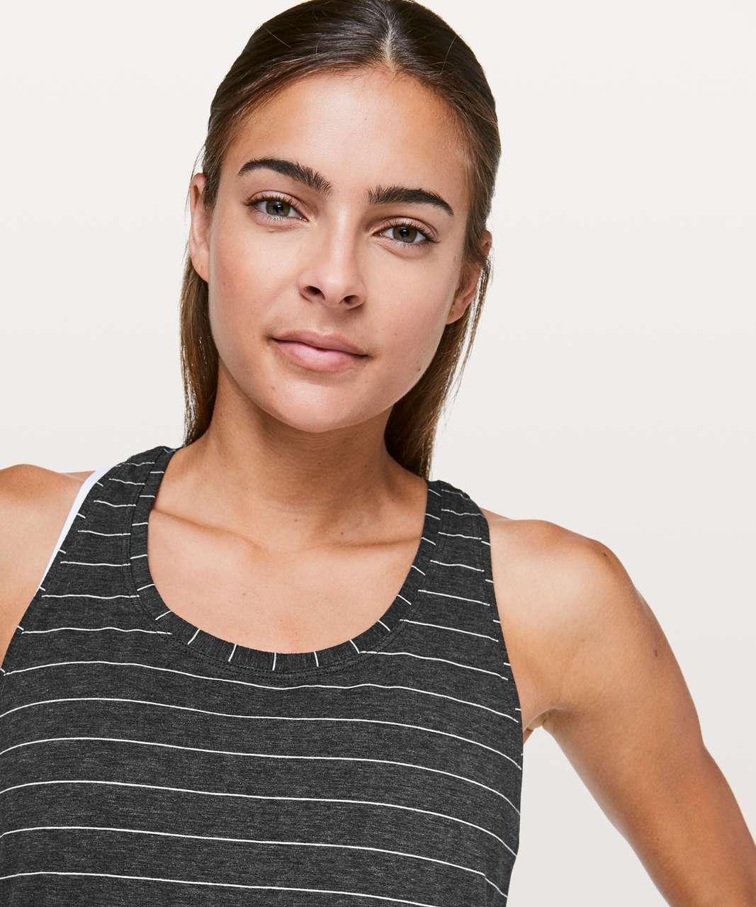 Lululemon Love Tank *Pleated - Short Serve Stripe Heathered Black White