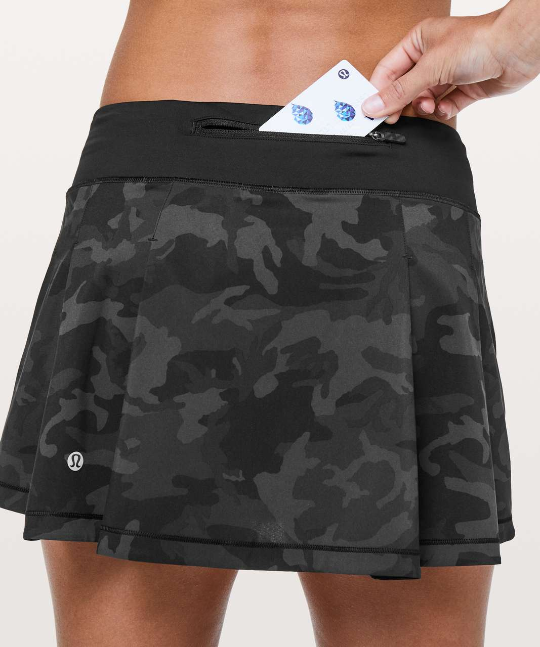 Lululemon Pace Rival Skirt (Regular) *No Panels - Incognito Camo Multi Grey / Black