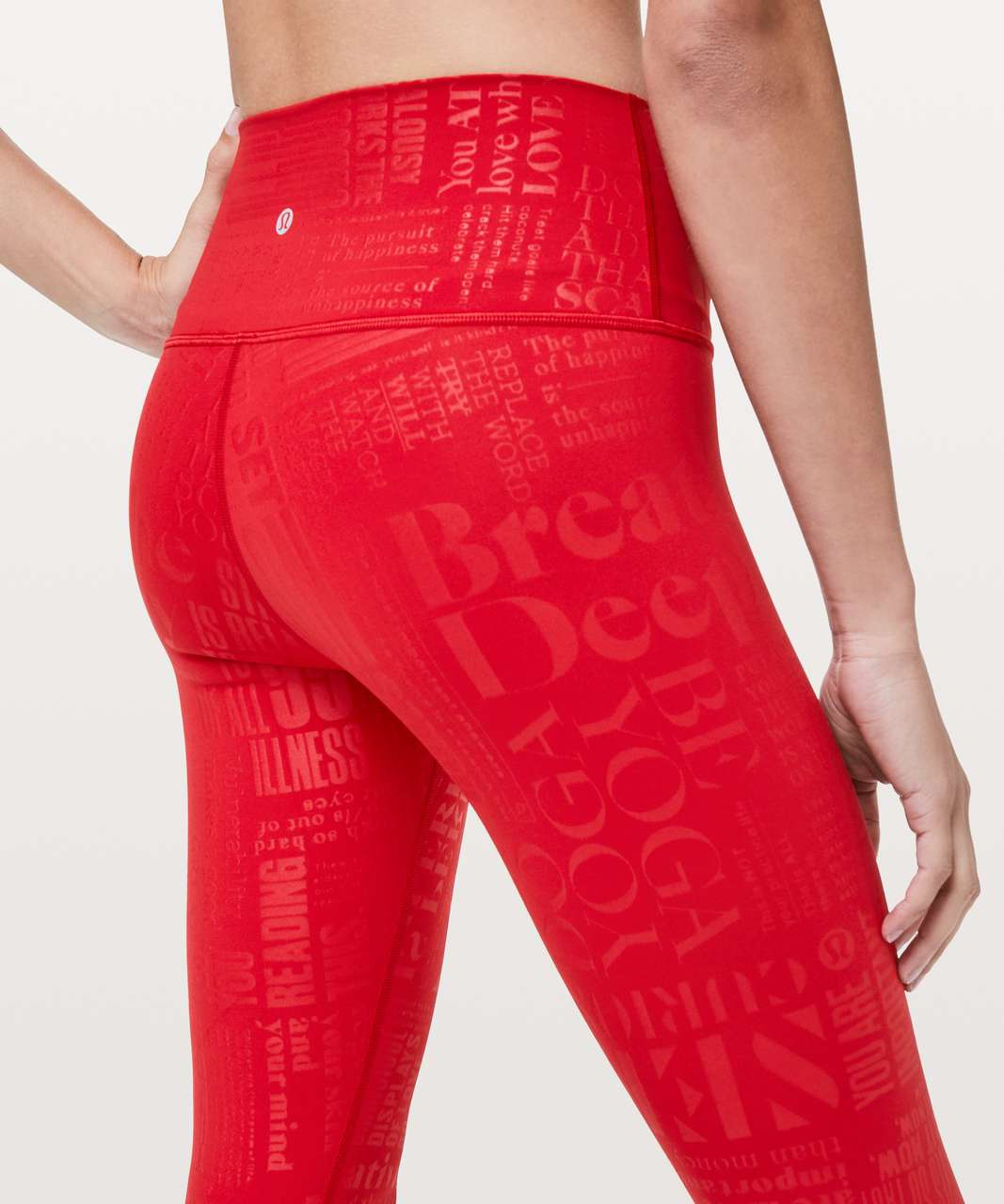 "Lululemon Wunder Under Hi-Rise 7/8 Tight *20Y Collection 25"" - 20YR Manifesto Embossed Dark Red"