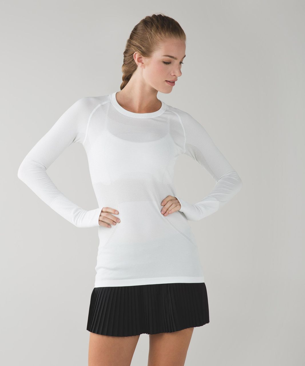 Lululemon Swiftly Tech Long Sleeve Crew - Heathered White