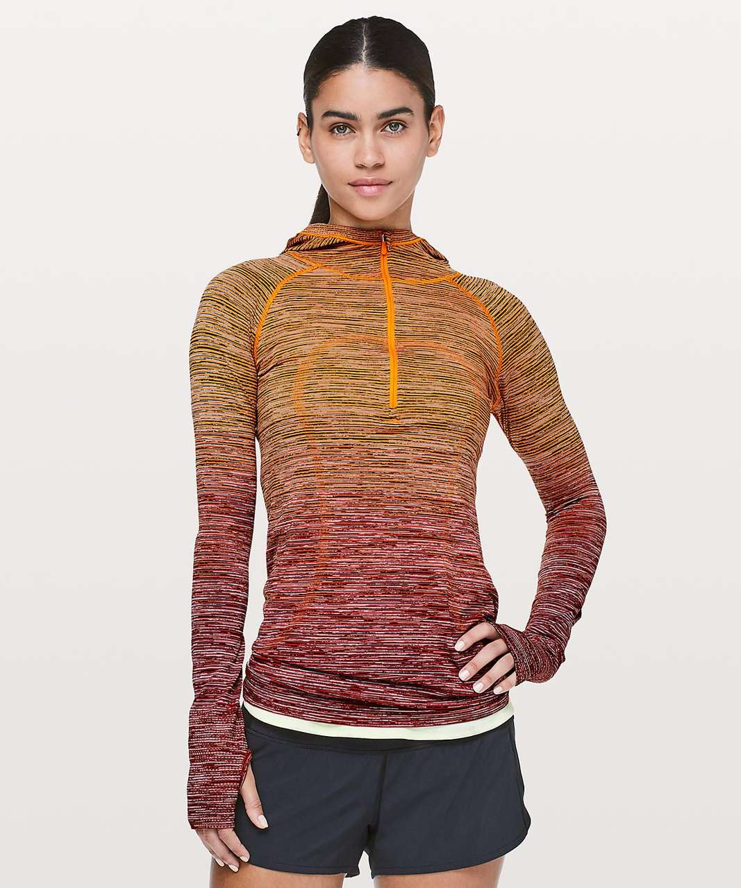 Lululemon Swiftly Tech Hooded 1/2 Zip *SW - Vivid Amber / White / Hot Heat / Black