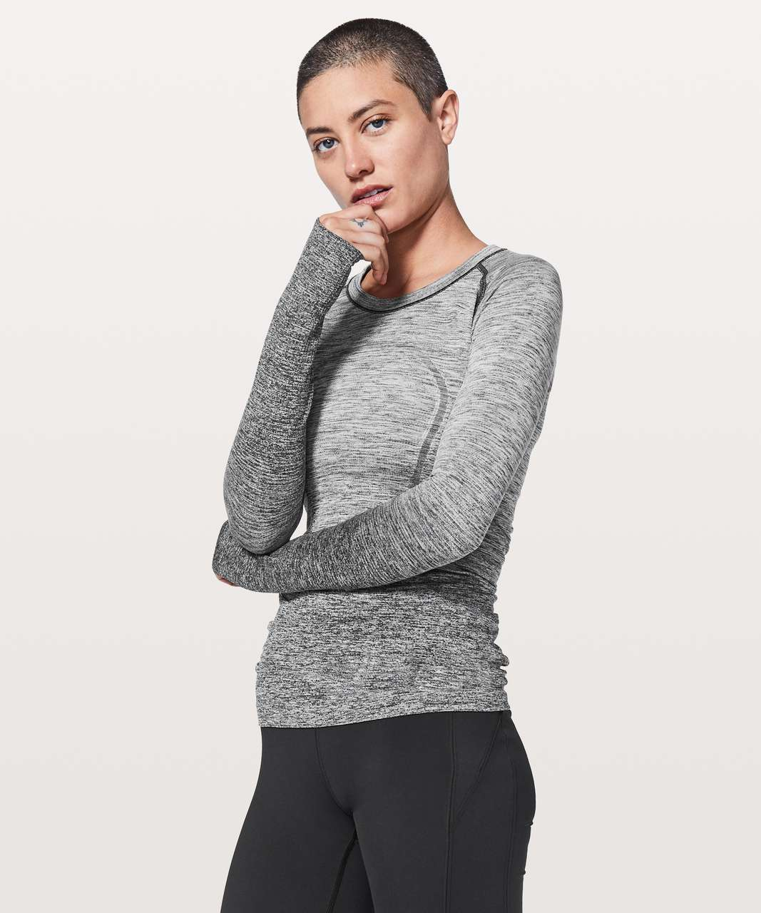 Lululemon Swiftly Tech Long Sleeve Crew - Black / White (Grey Ombre)