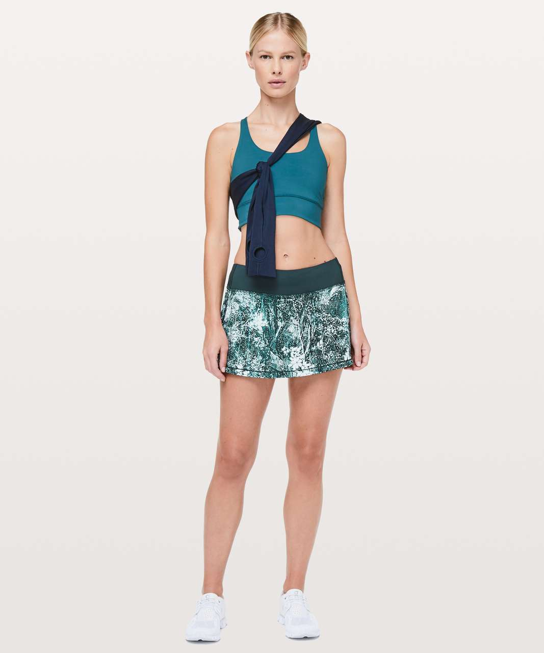 """Lululemon Pace Rival Skirt (Regular) *4-way Stretch 13"""" - Wildwood White Multi / Nocturnal Teal"""
