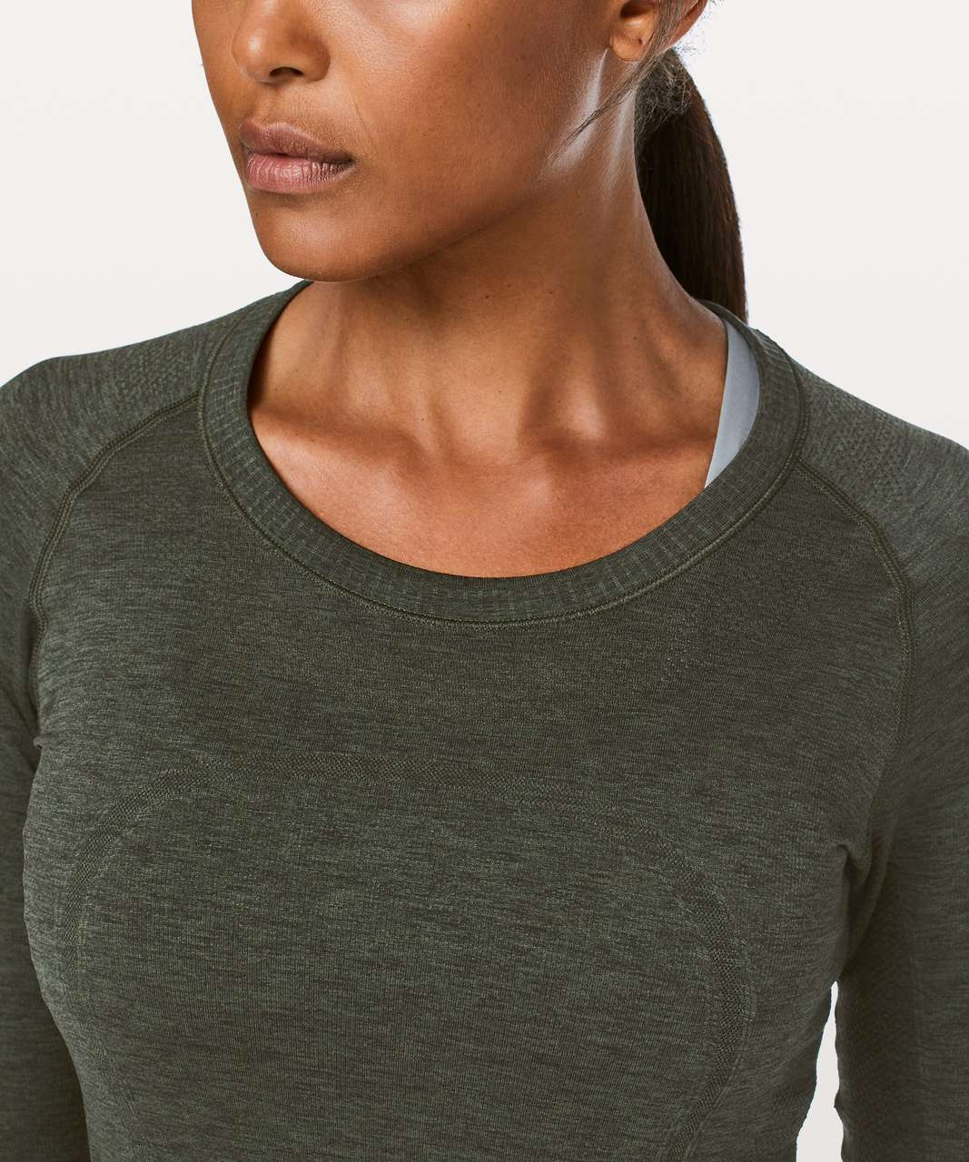 Lululemon Swiftly Tech Long Sleeve Crew - Camo Green / Black