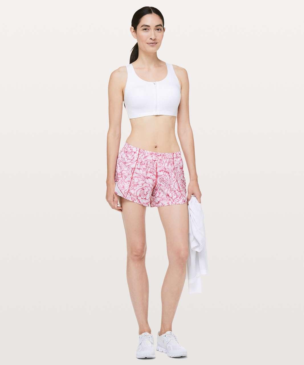 """Lululemon Hotty Hot Short II *Long 4"""" - Floral Bloom White Star Ruby / White"""