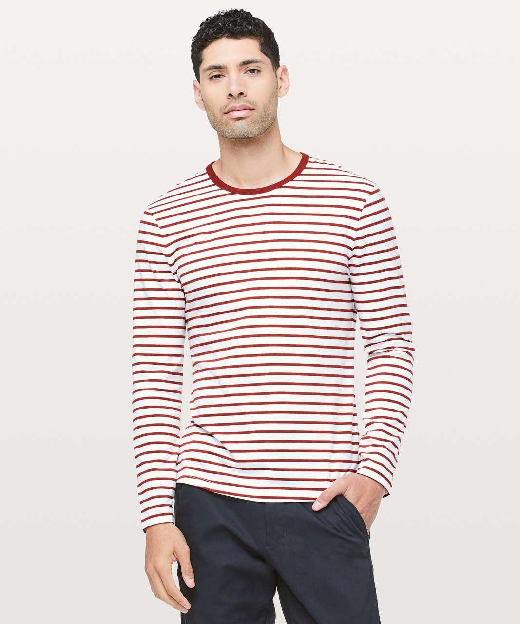 92fc46ab5ad6 Lululemon 5 Year Basic Long Sleeve - Yachtie Stripe White Magma - lulu  fanatics
