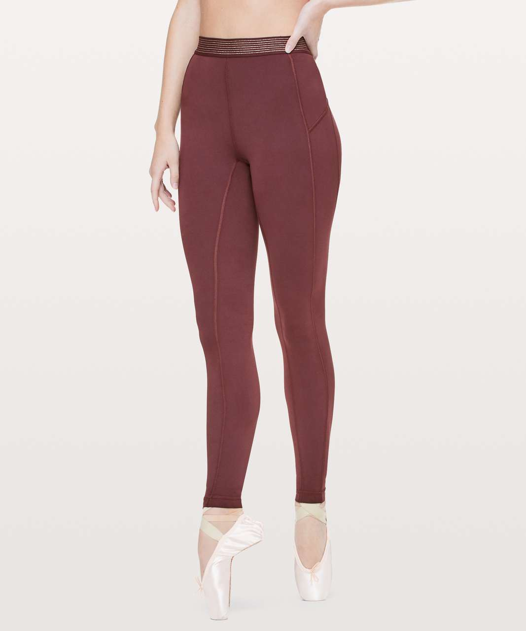 "Lululemon Principal Dancer Golden Lining Tight *28"" - Midnight Maroon"