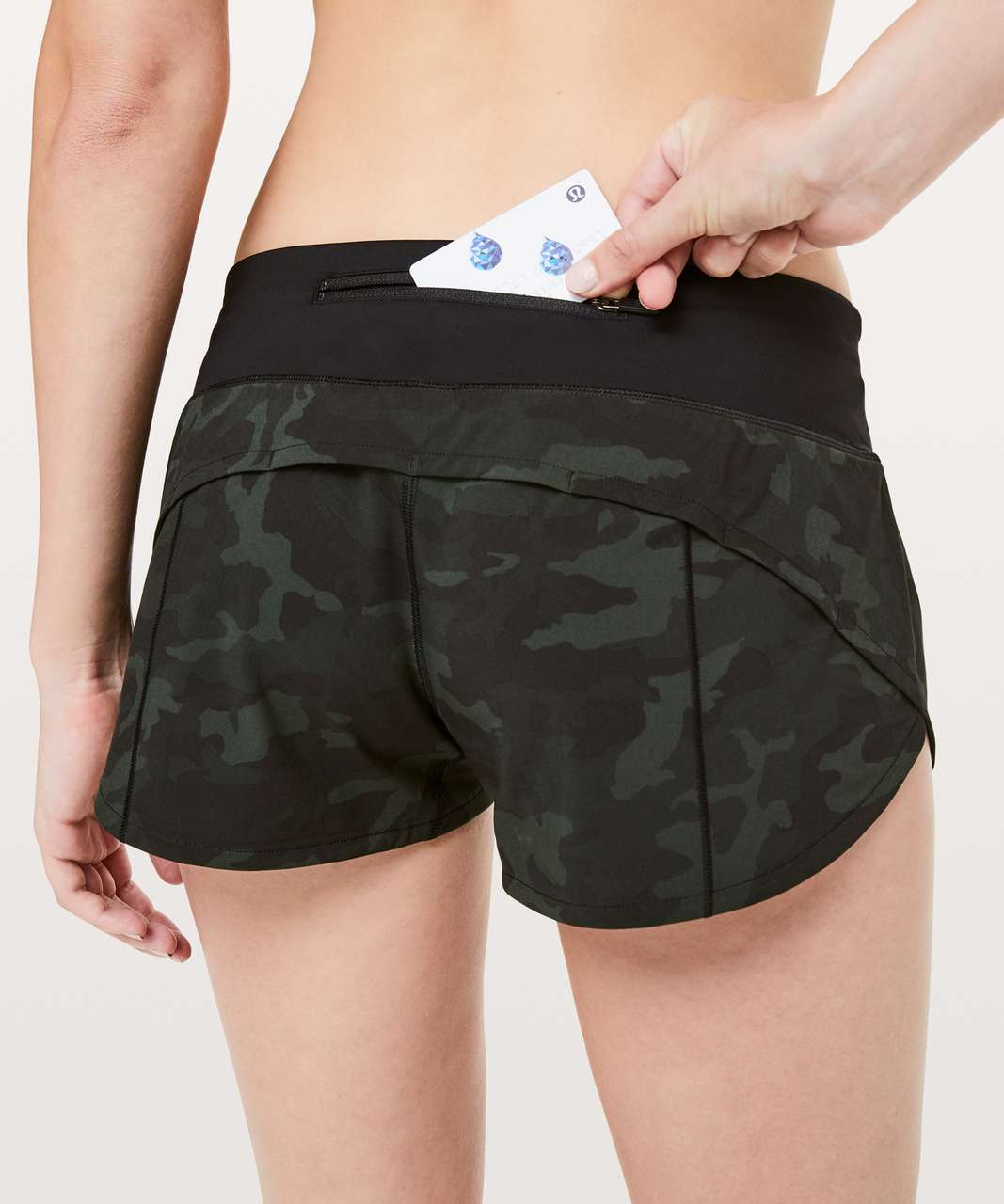 "Lululemon Speed Up Short *2.5"" - Incognito Camo Multi Gator Green / Black"