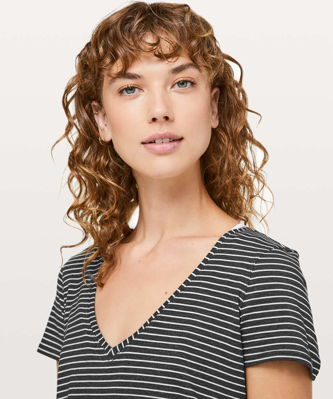 Lululemon Love Tee V - Modern Stripe Heathered Black White