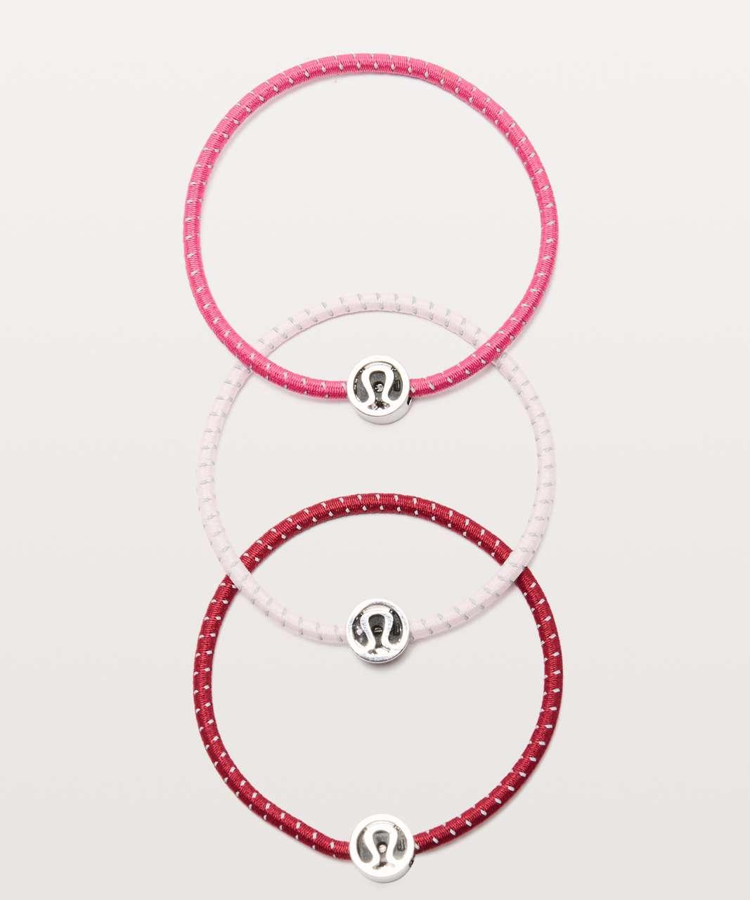 Lululemon Glow On Hair Ties - Violet Red / Blissful Pink / Sonic Pink