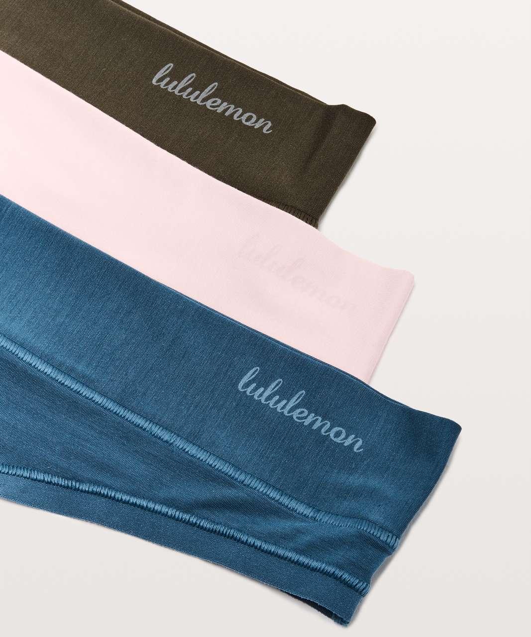 Lululemon Mula Bandhawear Thong *3 Pack - Dark Olive / Blissful Pink / Petrol Blue