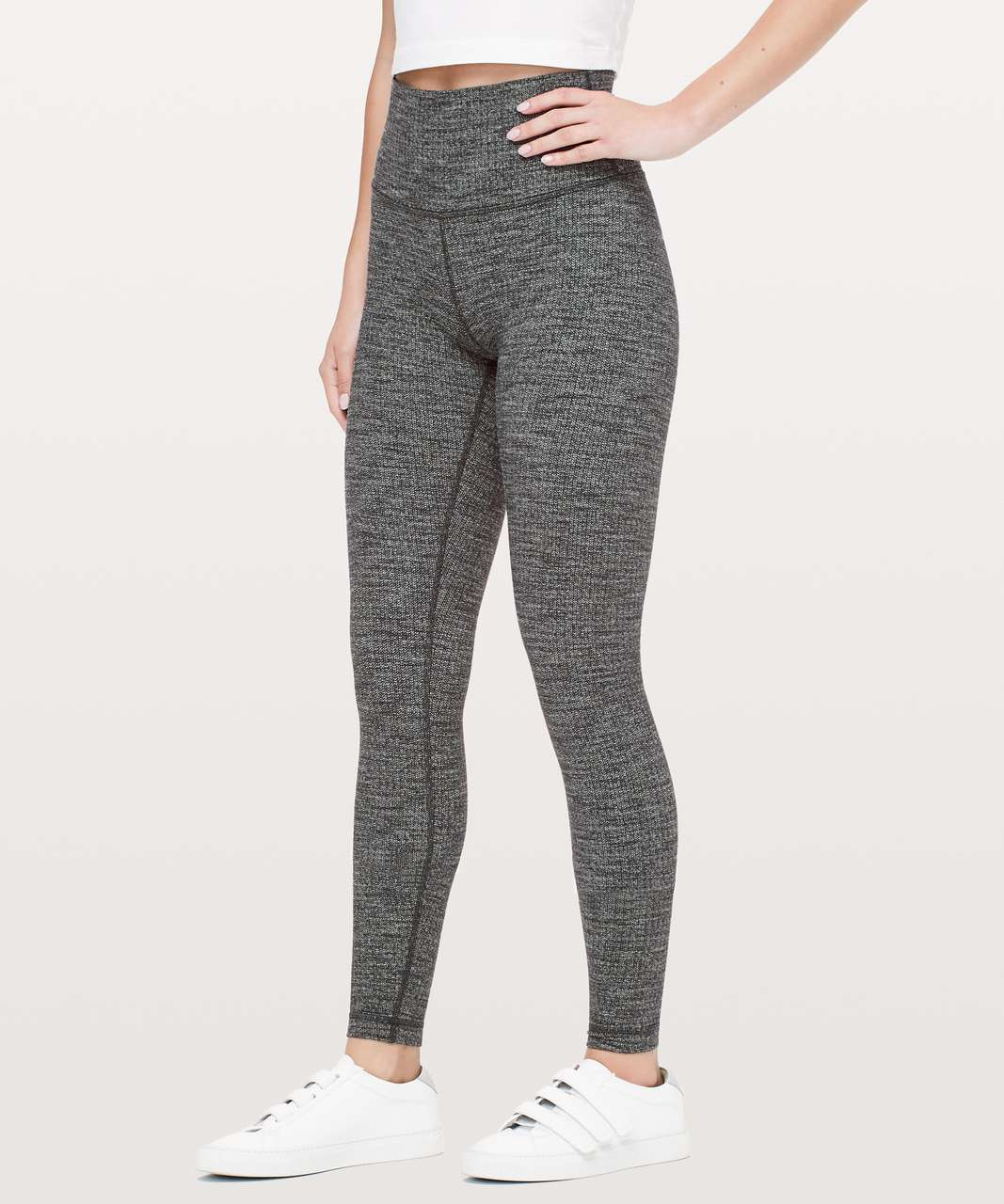 "Lululemon Wunder Under High-Rise Tight *28"" - Luon Variegated Knit Black Heathered Black"