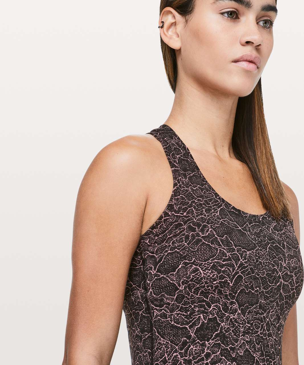 Lululemon Cool Racerback II *Nulu - Lacescape Spanish Rose Black