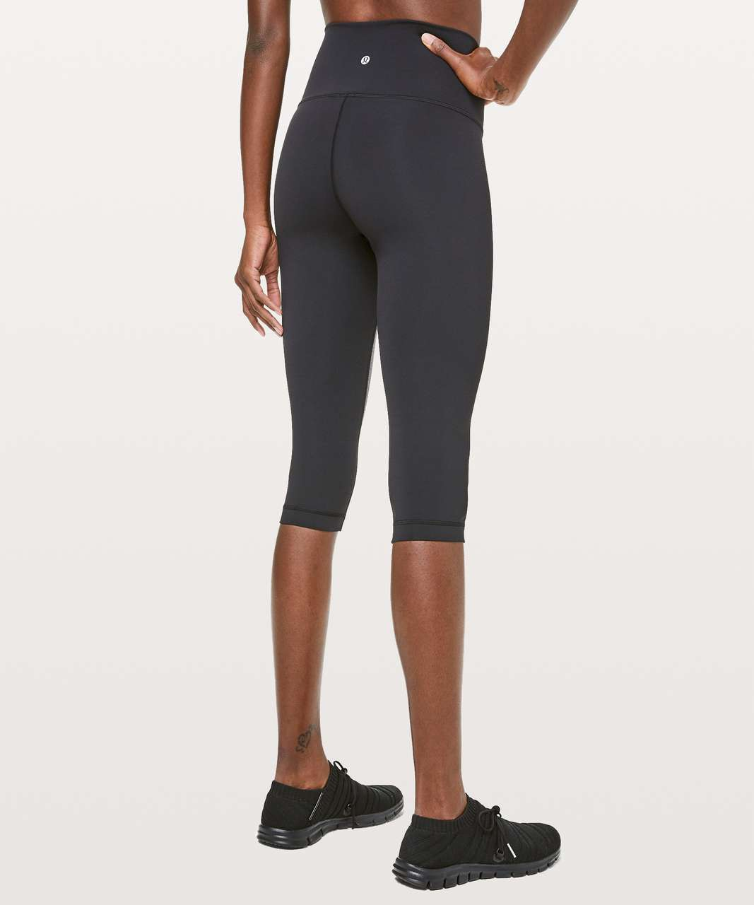 "Lululemon Wunder Under Crop High-Rise *Curve 17"" - Heathered Black / Black"