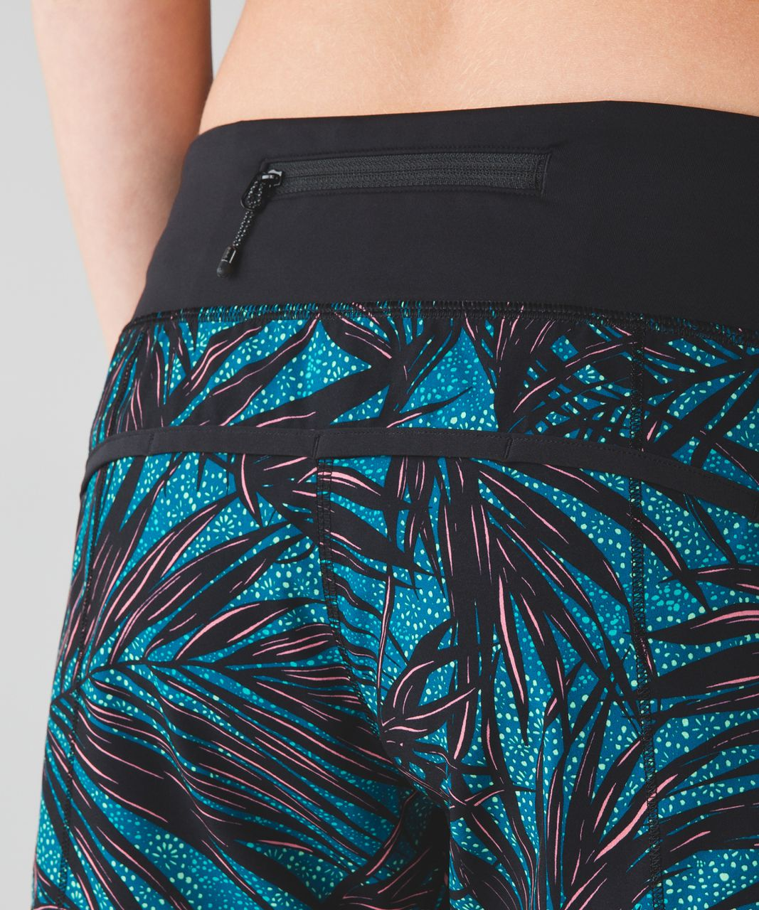 Lululemon Speed Short - Palm Lace Tofino Teal Multi / Black