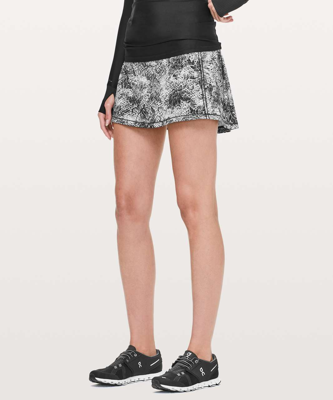 Lululemon Pace Rival Skirt II (Tall) *4-way Stretch - Serigraph Alpine White Black Multi / Black