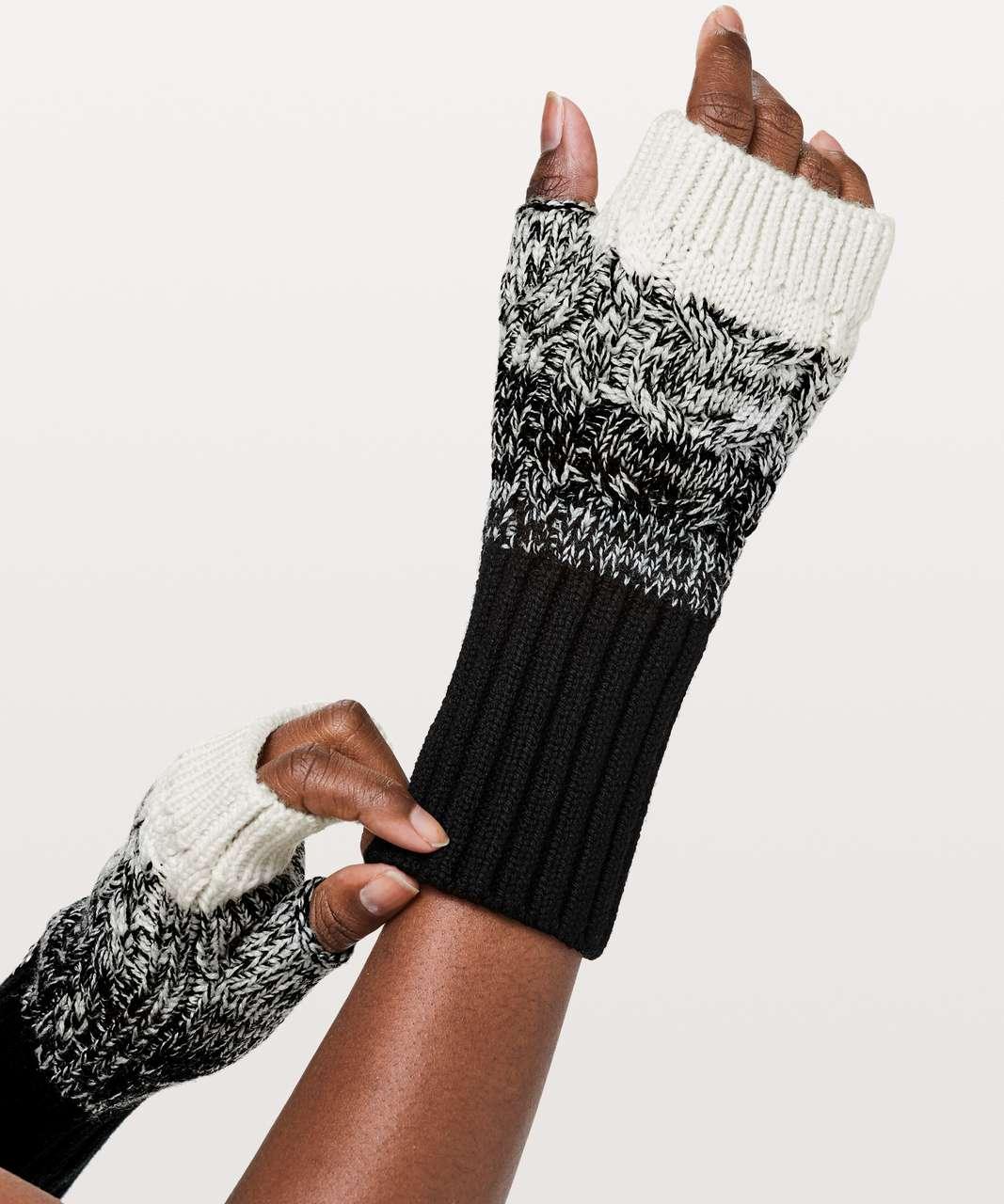 Lululemon Twisted Bliss Fingerless Gloves - Black / Angel Wing