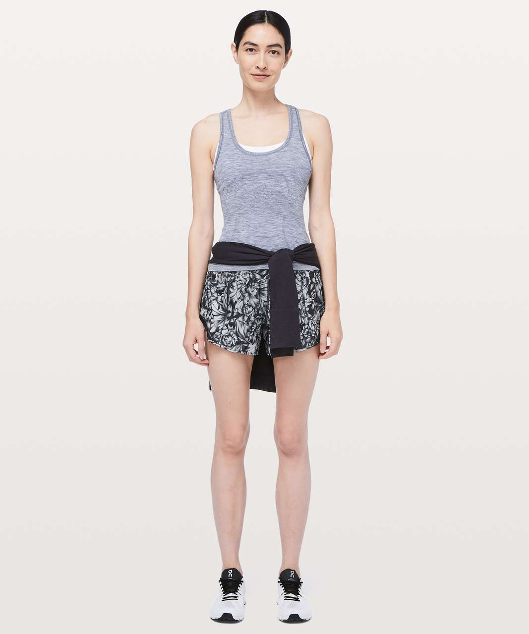 "Lululemon Hotty Hot Short II *Long 4"" - Night Garden Ice Grey Black / Black"