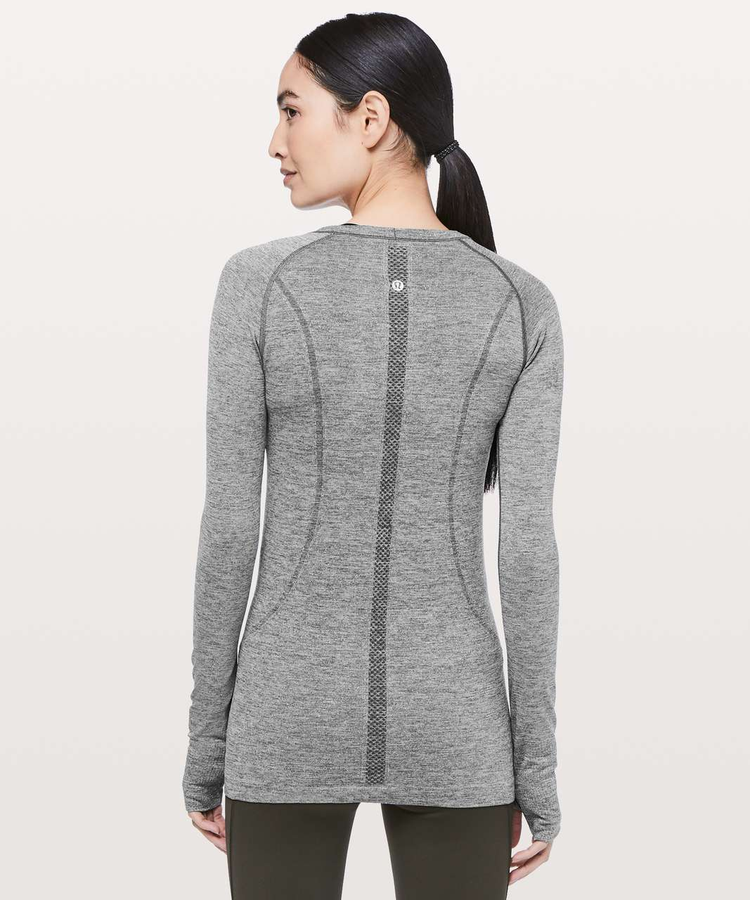 Lululemon Swiftly Tech Long Sleeve Crew *Sparkle - Black / White / Silver