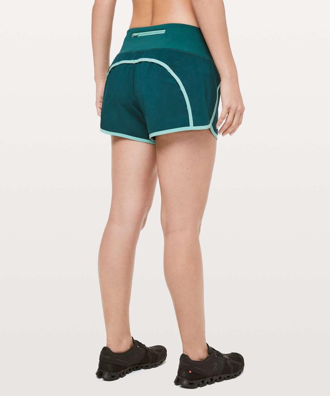 "Lululemon Run Times Short II *Binding 4"" - Royal Emerald / Aqua Mint"