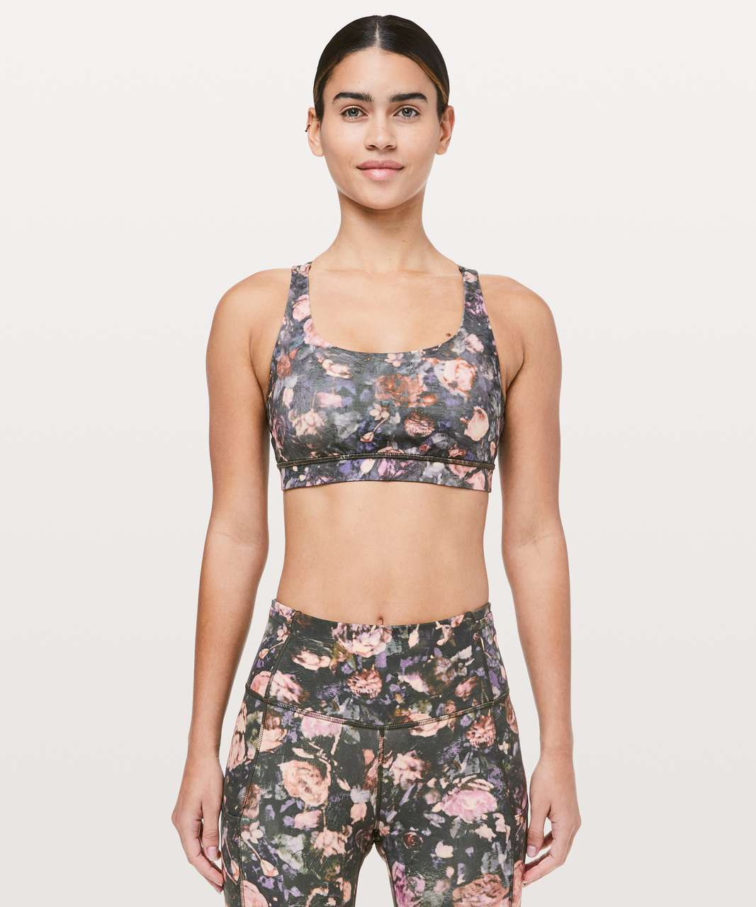 "Lululemon Fast & Free Crop II *Nulux 19"" - Frosted Rose Multi"