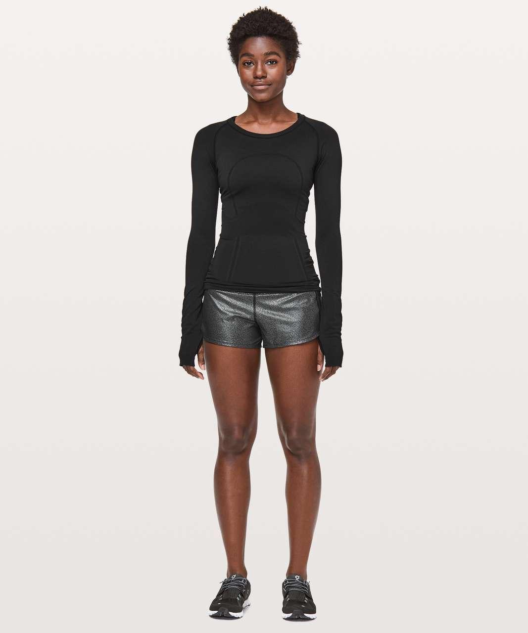 "Lululemon Speed Up Short *2.5"" - Luminosity Foil Print Black Silver / Black"