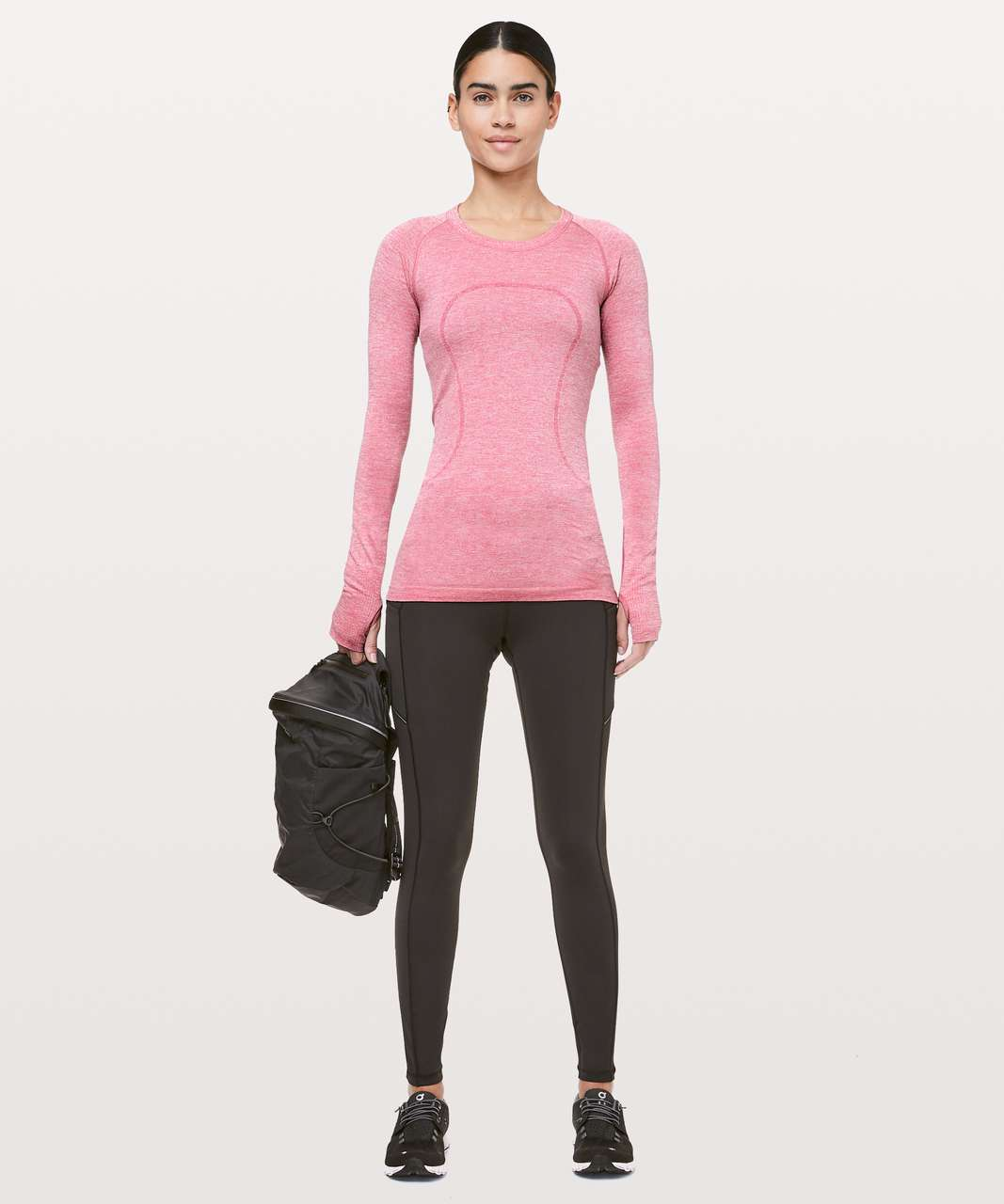 Lululemon Swiftly Tech Long Sleeve Crew *Sparkle - Violet Red / White / Silver