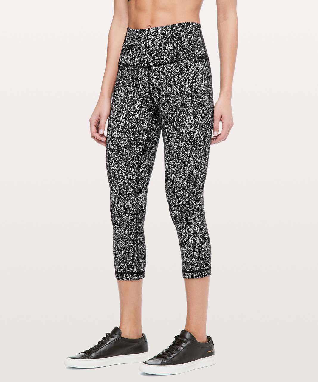"Lululemon Wunder Under Crop (High-Rise) *21"" - Luon Suited Jacquard Black White"