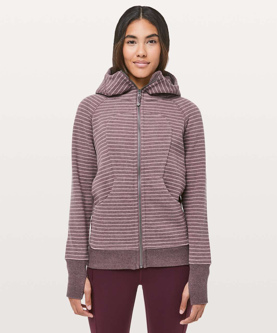 Lululemon Scuba Hoodie *Classic Cotton Fleece - Parallel Stripe Heathered Antique Bark Heathered Misty Merlot