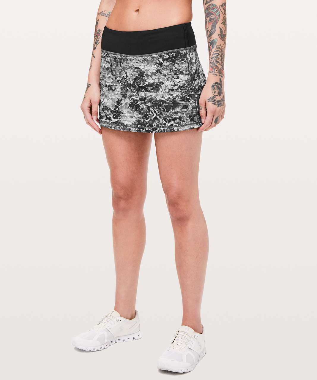 "Lululemon Pace Rival Skirt (Regular) *No Panels 13"" - Masked Lace Starlight Black / Black"