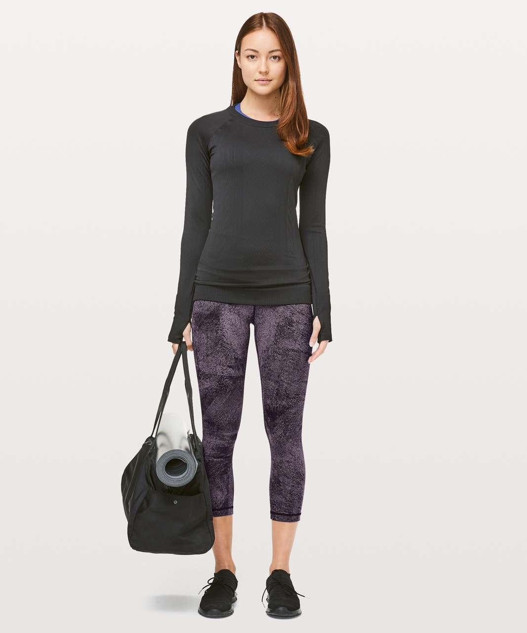 "Lululemon Align Crop *21"" - Pixel Print Purple Quartz Black"