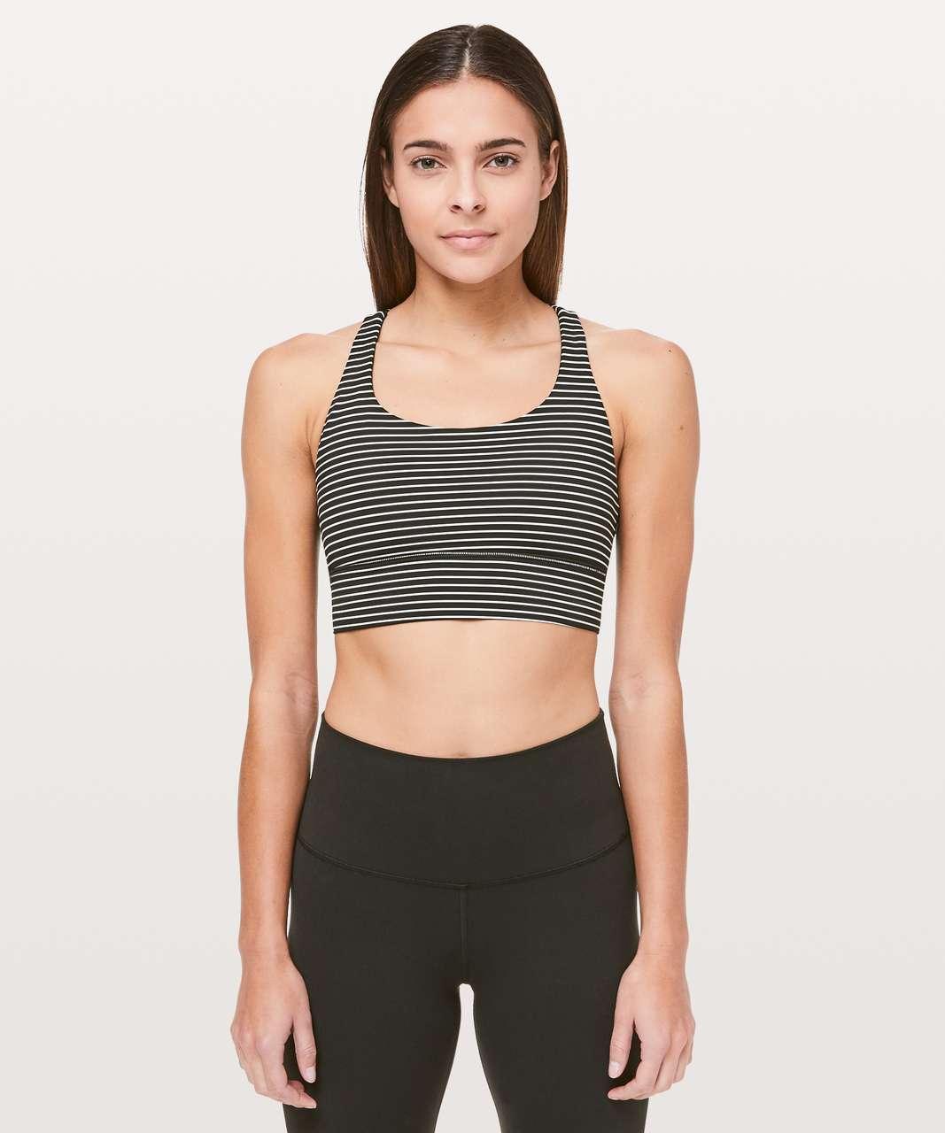Lululemon Energy Bra *Long Line - Mod Stripe Black White