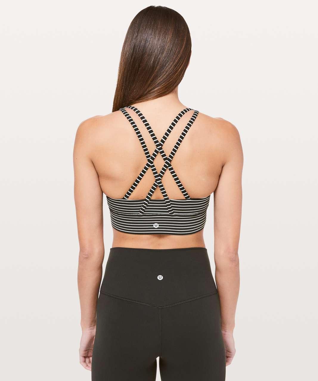 ee609ec20e Lululemon Energy Bra  Long Line - Mod Stripe Black White - lulu fanatics