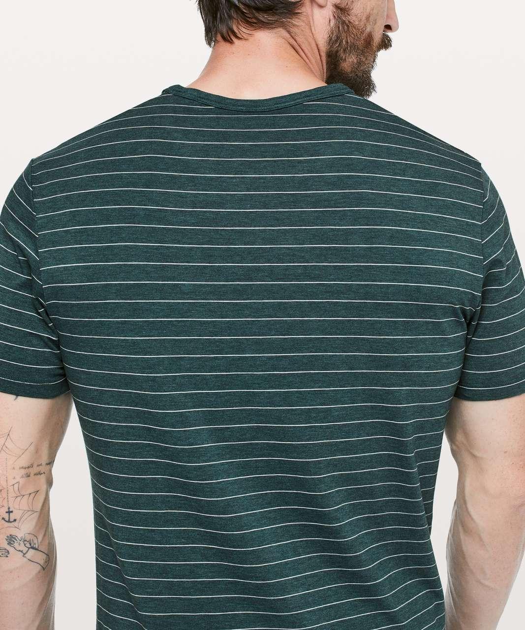 Lululemon 5 Year Basic Tee *Updated Fit - Short Serve Stripe Heathered Royal Emerald Moon Shine