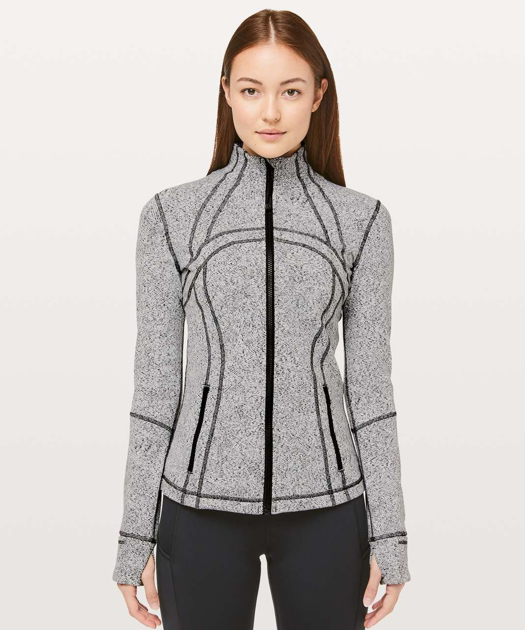 Lululemon Define Jacket - Inverted Feathered Jacquard White Black