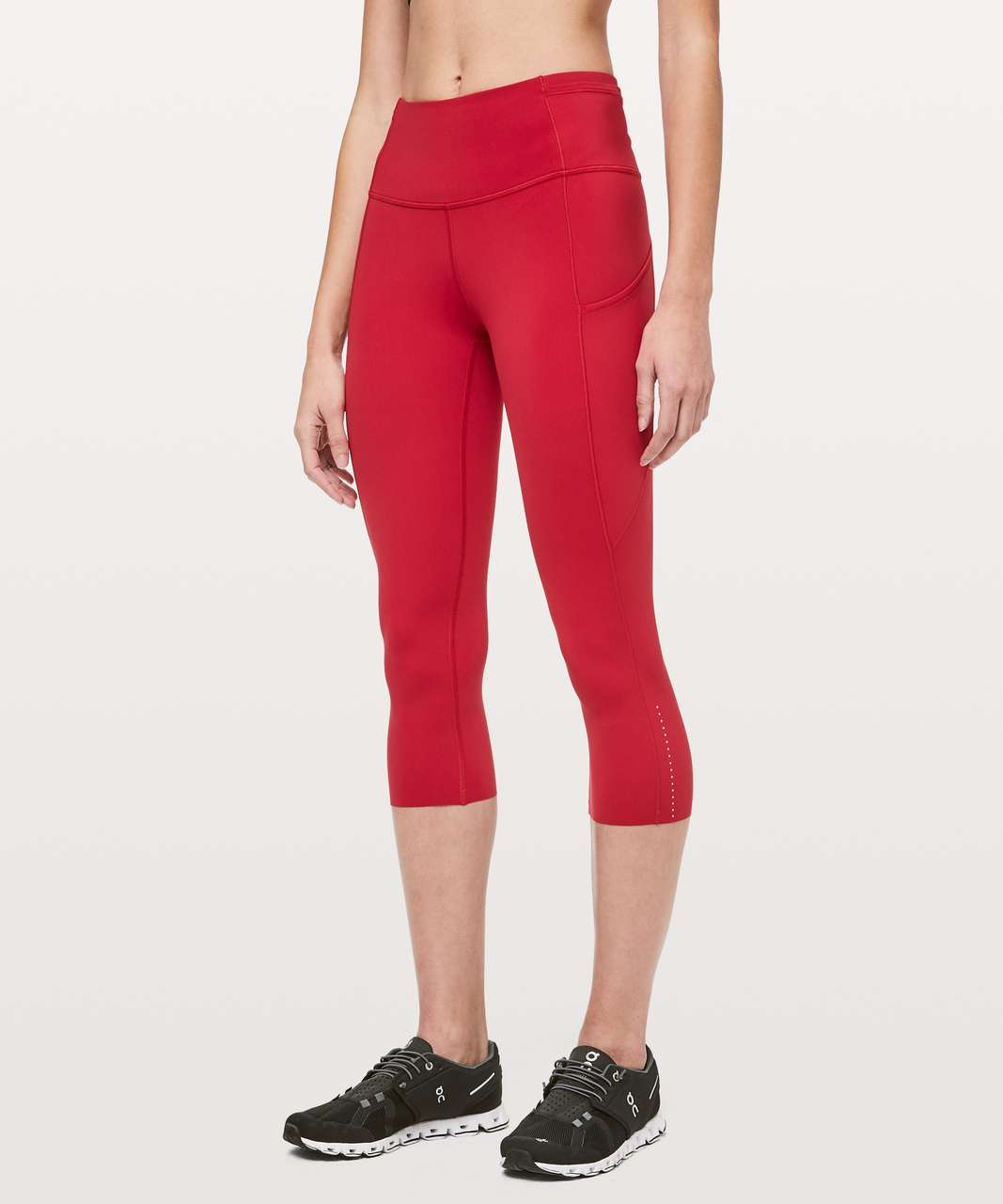"Lululemon Fast & Free Crop II *Nulux 19"" - Dark Red"