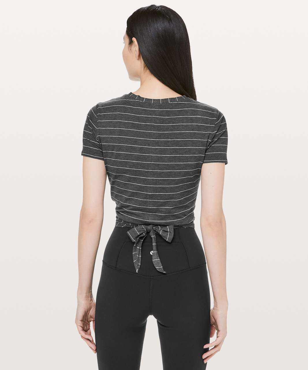 Lululemon Time To Restore Short Sleeve - Short Serve Stripe Heathered Black White