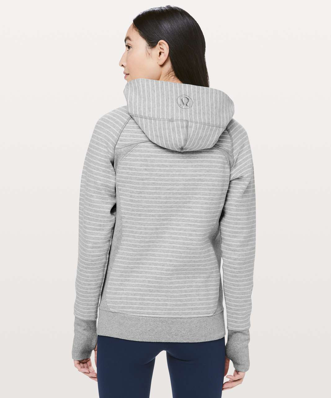 Lululemon Scuba Hoodie *Classic Cotton Fleece - Parallel Stripe Heathered Core Light Grey Heathered White