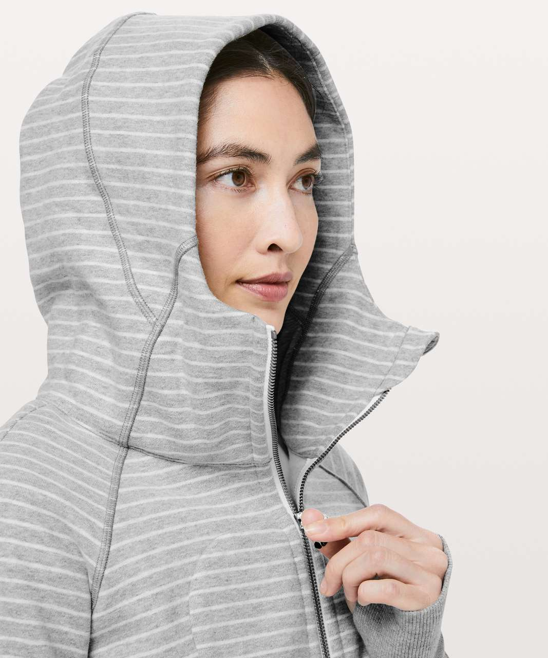 Lululemon Scuba Hoodie *Classic Cotton Fleece - Parallel Stripe Heathered Core Light Grey Heathered White