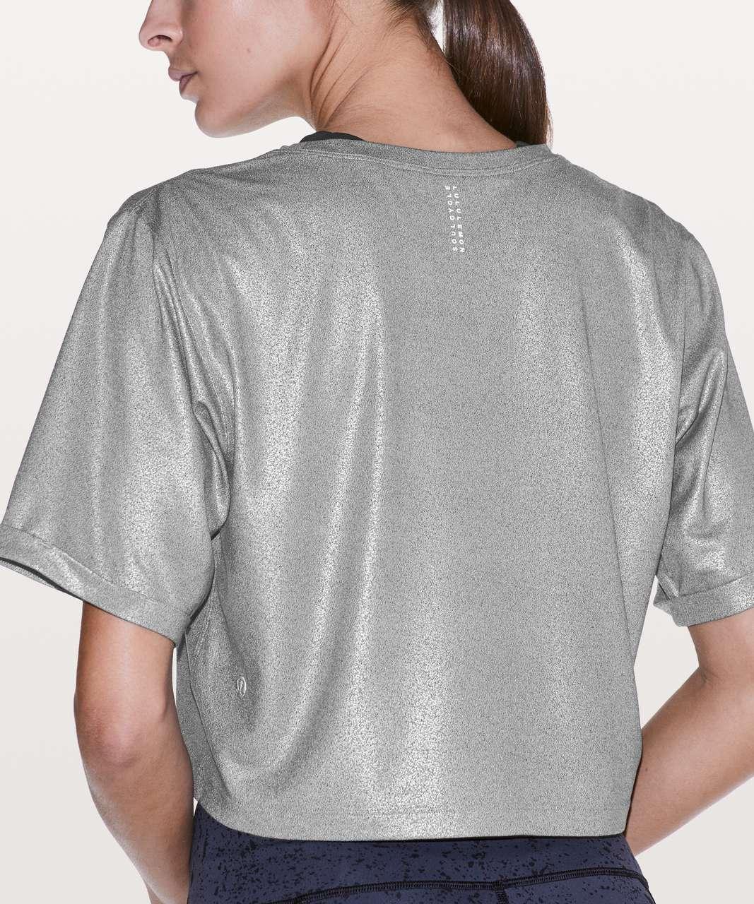 Lululemon To The Beat Tee *lululemon X SoulCycle - Luminosity Foil Print Heathered Metal Grey Silver Foil