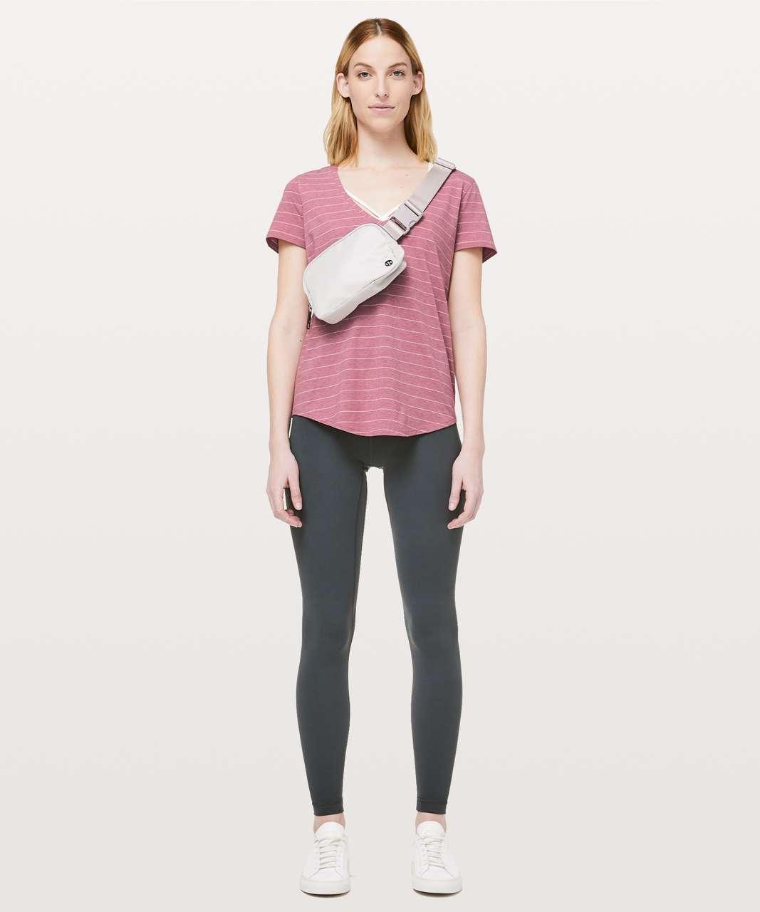 Lululemon Love Tee V - Short Serve Stripe Heathered So Merlot White