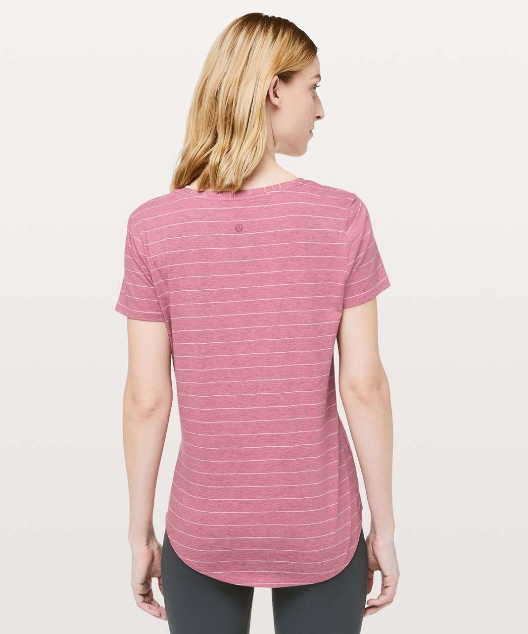 Lululemon Love Tee V - Short Serve Stripe Heathered So Merlot White